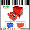 Red Color Double Handle Shopping Basket 28L with Basket Holder