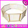 2015 New Outlets Wooden Outside Folding Baby Playpen, Round or Square Luxury Baby Playpen, High Quality Baby Safety Fence W08h006