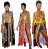 Women′s Sexy Deep V Neck High Slit African Ethnic Dashiki Long Maxi Dresses Clubwear