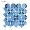 Artist Small Paterred Blue Bathroom Stained Glass Mosaic Tile for Backsplash