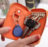 OEM Logo Zipper Leather Promotional Key Bag with Hook
