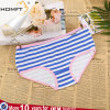 Comfortable Ventilate Low-Waisted Cotton Cross Stripe Printing Ladies Lingerie Panty