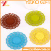 Eco-Friendly Colorful Silicone Cup Mat with Flowers Pattern