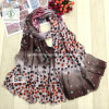 2017 New Velvet Transitional Color Fashion Lady Scarf with DOT Printed