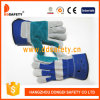Ddsafety 2017 Reinforced Green Leather Palm. Blue Cotton Back Rubberized Cuff