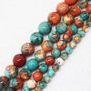 Wholesale 6-12mm Orang&Blue Snow Jasper Round Loose Beads