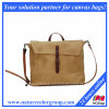 Waxed Canvas Bag with Leather Handles- Messenger Bag