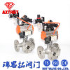 Flange Reduce Port Three Way Ball Valve with Pneumatic Actuator