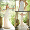 Sleeveless Bridal Gown Mermaid Lace Champagne Tulle Wedding Dress 2019 M2042