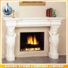 Moca Cream Marble Antique Fireplace with Hand Carved Angel