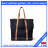 2017 Fashion Leather-Trimmed Canvas Tote Bag