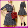 O New Fashion Plus Size Half Sleeve com Belt Black White Plaid Ladies Casual Dresses, Formal Dress 2014