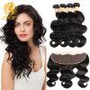 Brazilian Virgin Hair Body Wave Silk Base Lace Frontal Closure with Bundles 13X4 Ear to Ear Lace Frontal Closure with Bundles