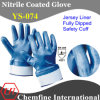 "Jersey Glove with Blue Nitrile Fully Coated & Open Back & Safety Cuff/ En388: 4221/ Size 8"", 9"", 10"", 11"" (YS-074)"