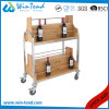 fashion Design Vertical Style Wooden Wine Trolley for Hotel Serving