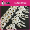 Latest Design Decorative Gold Metal Grommet Eyelet White Polyester Lace Trimming