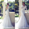V-Neck Bridal Gowns Mermaid Feather Lace Wedding Dresses Z8018