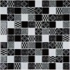300*300mm Black Mix White Glass Mosaic