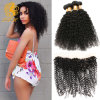 Brazilian Curly Virgin Hair Lace Frontal with Bundles Longqihair Brazilian Kinky Curly Virgin Hair 3 Bundles with Frontal