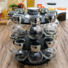 Factory Wholesale Glassware Color Rotate Rack Storage Spice Glass Bottle