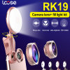 2017 Universal 2 in 1 Selfie Ring Flashlight with Fisheye Lens LED Selfie Flash Light (RK19)