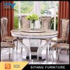 Modern 8 Seater Stainless Steel Table with Marble Top