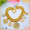 High Quality Metal Custom Logo Charms Gold Jewelry Logo Tag Bracelet for Charm