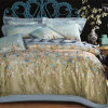 Queen King Size Bedding Set Luxury Silk Cotton Blend Lace Duvet Cover Sets