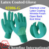 Green Interlock Glove with Dark Green Latex Wrinkle Half Coating & Open Back & Knit Wrist