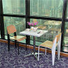 Modern White Restaurant Table with X Stainless Steel Table Base for America Market