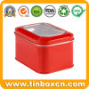 Square Tin Box with PVC Window, Metal Tin Packaging