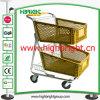 Double Basket Plastic Shopping Cart for Hyper Market