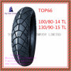 Super Quality, Nylon 6pr Tubeless Motorcycle Tyre with 100/80-14tl, 130/90-15tl