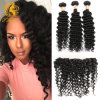 Brazilian Deep Curly Virgin Hair with Closure Wet and Wavy Virgin Brazilian Hair with Closure Lace Frontal Closure with Bundles
