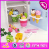 2015 Multi Color Wooden Toy Refrigerator, Wholesale Wooden Toy Refrigerator with Ice Creams, Single-Door Toy Refrigerator W10d016