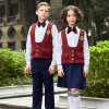 Fashionable Red Color Sleeveless School Uniform Waistcoats