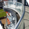Curve Toughened Tempered Glass Railing with Aluminum Alloy U Channel