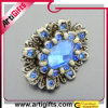 Blue Rose Metal Pendant (pin badge) with Retro Design