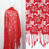 2017 Custom Red Polyester Lace Fabric with Tassels Hot Sale