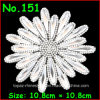 Shiny White Gold Flower Motif Rhinestones Hot Fix Iron on Crystal Patch DIY Garment (TP-588)