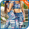 Women Sport Fitness Blue Print Tops and Legging Two Pieces Yoga Sets