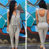2015 European Style V-Neck Women Sexy Black Backless Jumpsuit