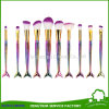 10PCS Fish Tail Makeup Brush Set with Adorable Foundation Mermaid Shape Cosmetic Brush