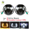 12V Waterproof 5000lm 7 Inch Half Halo Ring Angel Eye Headlight for Jeep Wrangler
