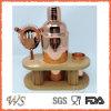 Ws-C23 3-Pieces Urban Barware Round Wood Tray 24oz Cocktail Shaker, Jigger, Strainer Copper Plating Bar Set