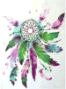 Colorful Dreamcatcher Purple Temporary Waterproof Tattoo Sticker