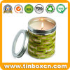 Round Candle Tin Can with Transparent PVC Window