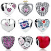 Heart Shape Beads 925 Sterling Slver European Charms for Bracelet Making