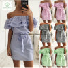 2017 off-Shoulder Flounce Striped Slim Fashion Ladies Dress with Belt