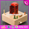 Handmade Children Toys Telephone Booth Wooden Classic Music Box for Toddlers W07b054
